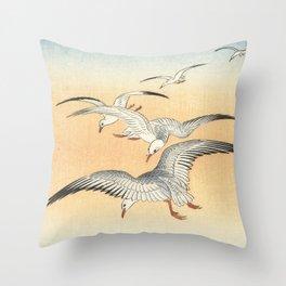 Japanese Seagull Woodblock Print by Ohara Koson Throw Pillow