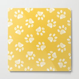 Doodle white paw print seamless fabric design repeated pattern yellow background Metal Print