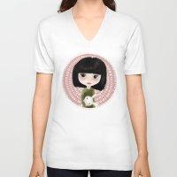 mini V-neck T-shirts featuring Mini me by Marta Li
