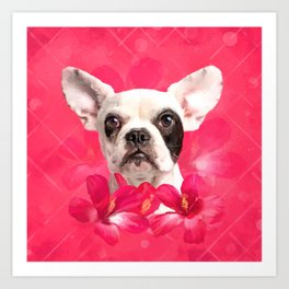 Cute French Bulldog - Frenchie puppy with Flowers Art Print