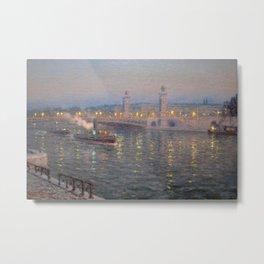 Paris, City of Lights Reflection on the River Seine; Alexander III Bridge landscape by Lionel Walden Metal Print