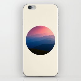 Blue Purple & Pink Mountains Sunset Silhouette iPhone Skin