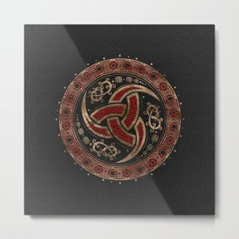 Odin's Horn Black and Red Leather and gold Metal Print