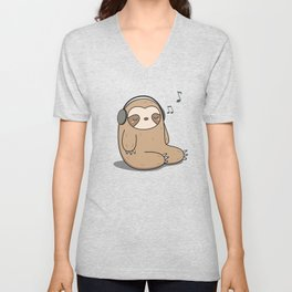 Kawaii Cute Sloth Listening To Music Unisex V-Neck