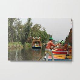 Xochimilco Along the Canal Metal Print