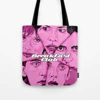 breakfast club Tote Bags featuring Breakfast Club by David Amblard
