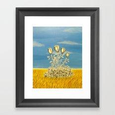 Silver Flowers on Golden Grass Framed Art Print