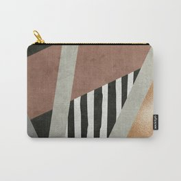 Abstract Geometric Composition in Copper, Brown, Black Carry-All Pouch