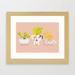 Kawaii dog cat hedgehog succulents Framed Art Print