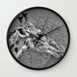 12,000pixel - 500dpi, High Quality Photograph - Giraffe licking a pink wall - Black and white Wall Clock