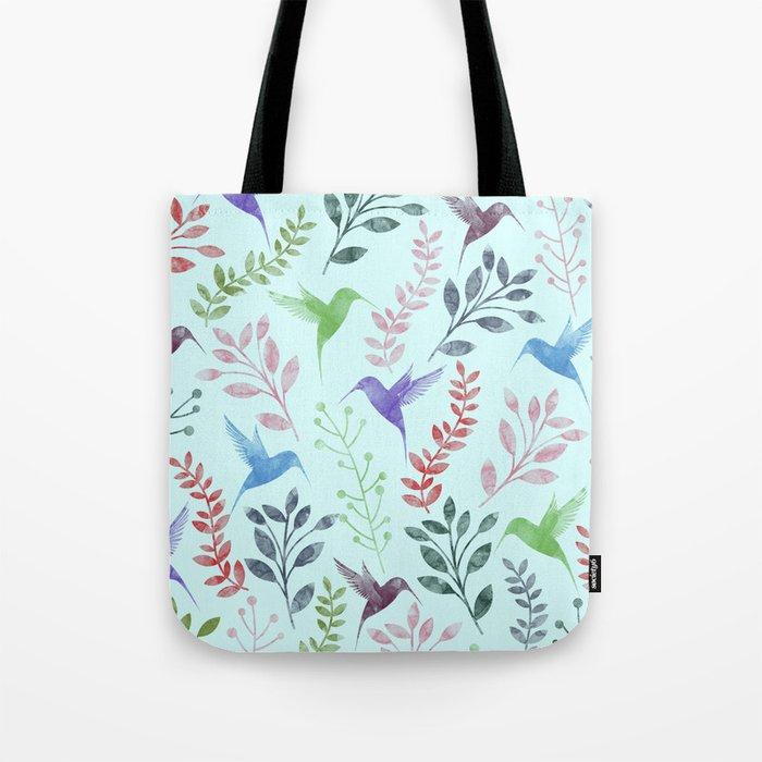Watercolor Floral & Birds III Tote Bag