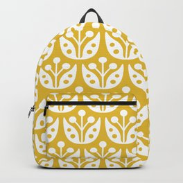 Mid Century Modern Flower Pattern Mustard Yellow Backpack