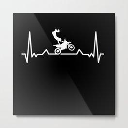 Motocross Heartbeat Motorcycle for Biker Metal Print