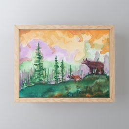 Black Bear and Cubs in Pine Forest Framed Mini Art Print