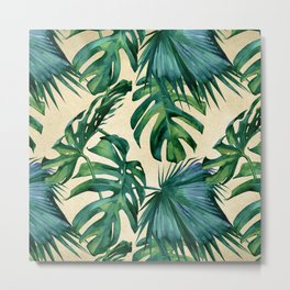 Tropical Island Republic Green on Linen Metal Print