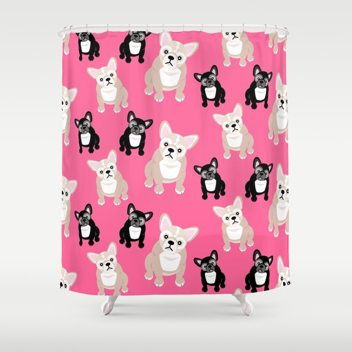 French Bulldog Puppies Pink Shower Curtain
