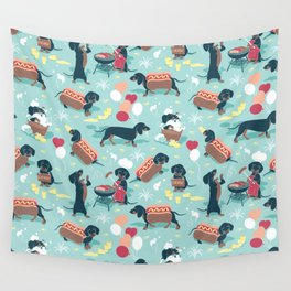 Hot dogs and lemonade // aqua background navy dachshunds Wall Tapestry
