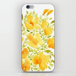 Watercolor California poppies (Quad set, #2) iPhone Skin