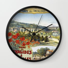 Ligne des Invalides a Versailles, French Travel Poster Wall Clock