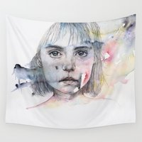 shadow Wall Tapestries featuring little girl's shadow by agnes-cecile