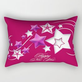 Fushia and Red Happy New Year Shooting Stars Rectangular Pillow