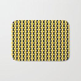 CVS0073 White Hearts Dark Yellow Black Stripes Bath Mat