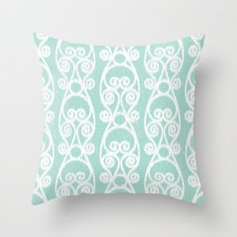 Crackled Scrolled Ikat Pattern - Blue White Throw Pillow