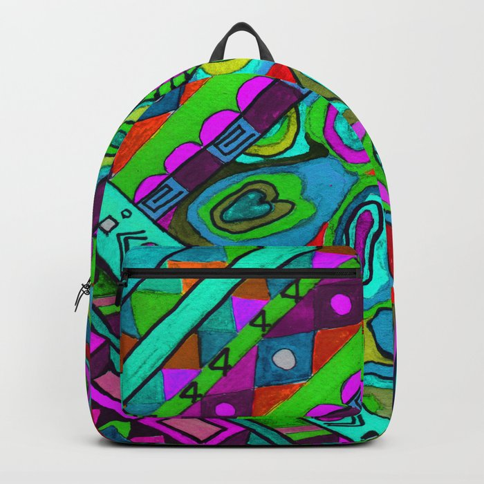 Abstract ethnic pattern in blue and turquoise tones . Backpack