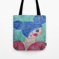 minnie Tote Bags featuring Minnie Blue by fieltrovitz
