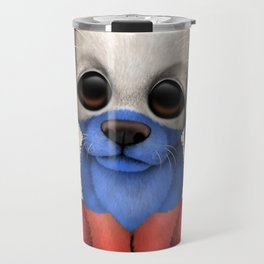 Cute Puppy Dog with flag of Russia Travel Mug