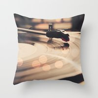record Throw Pillows featuring Record player by Basic Design
