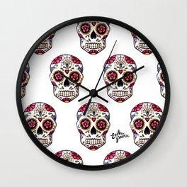 Sugar Skull - white Wall Clock
