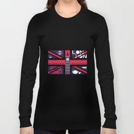 Vintage Union Jack UK Flag with London Decoration Long Sleeve T-shirt