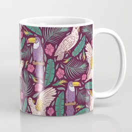 Purple toucan with pink cockatoo amoung tropical flowers and leaves Coffee Mug