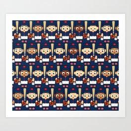 Baseball Navy, Red and White - Super cute sports stars Art Print