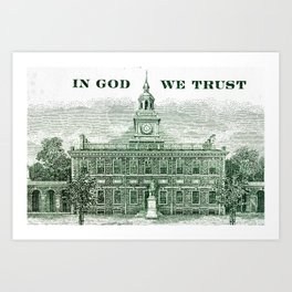 cash money old Ben 100 bucks dollars  us currency  in God we Trust Art Print