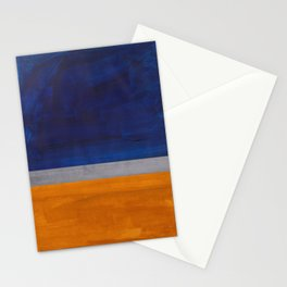 Minimalist Mid Century Rothko Color Field Navy Blue Yellow Ochre Grey Accent Square Colorblock Stationery Cards