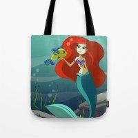 little mermaid Tote Bags featuring Little Mermaid by Kaori