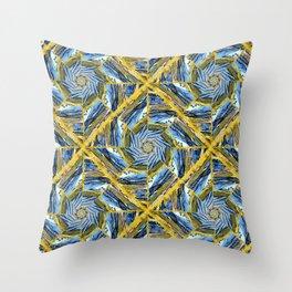 golden day kaleidoscope pattern Throw Pillow