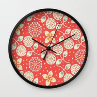 death cab for cutie Wall Clocks featuring Cutie by Pink Berry Patterns
