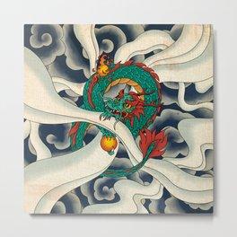 Minhwa: Asian Dragon with Magic Pearl F Type Metal Print