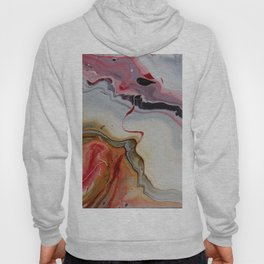 Strange visions 26, acrylic abstract painting, white, red, gold, black Hoody