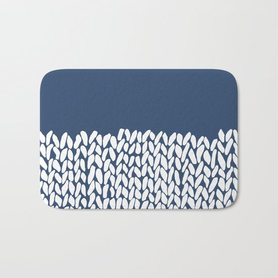 Half Knit Navy Bath Mat