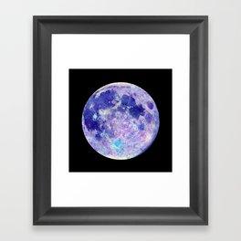 Moon Watercolor Art -black background Framed Art Print