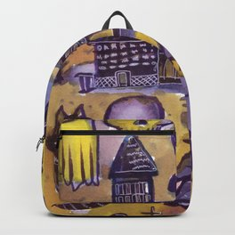 haunted house horror aesthetic pattern Backpack
