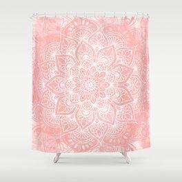 Mandala, Yoga Love, Coral, Wall Art Boho Shower Curtain
