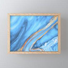 Blue & Gold Watercolor Framed Mini Art Print