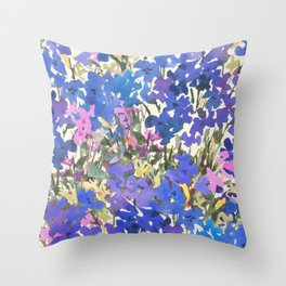 Blue Periwinkle Wildflowers Throw Pillow