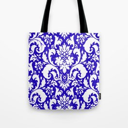 Paisley Damask Blue and White Tote Bag