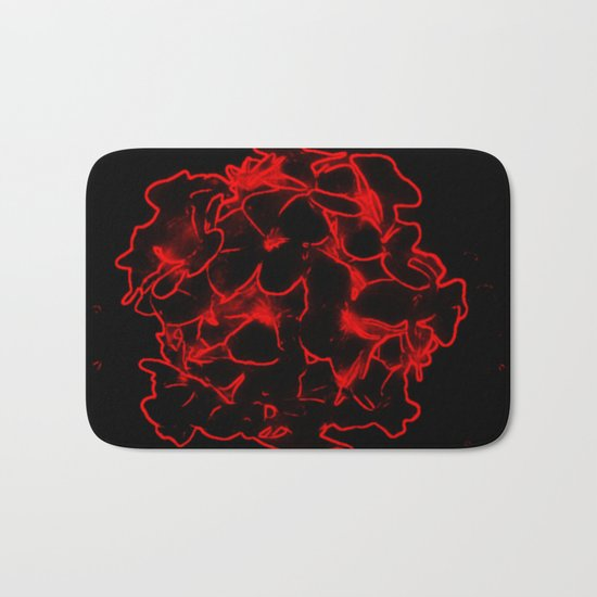 Red electric flowers on black background Bath Mat